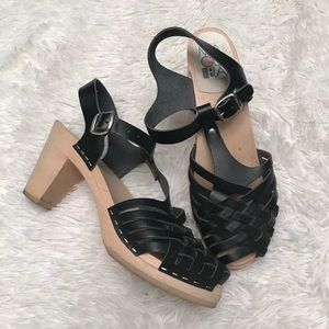 Maguba Braided Low Heal Clog Sandals Black